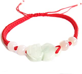 MANRUO The Best Feng Shui Red String Bracelet with Color Jade Pi Xiu/Pi Yao Bead Lucky Wealthy Amulet Brecelet Jewelry