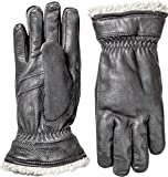 Hestra Leather Gloves: Mens and Womens Primaloft Thin Winter Gloves, Black, 6