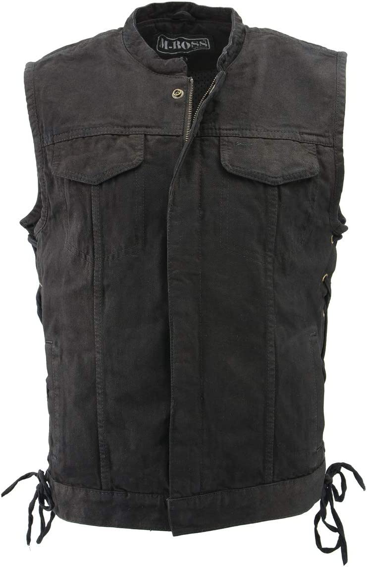 M Boss Motorcycle Apparel BOS13002 Men's Black Denim Club Style Side Lace Vest with Hidden Zipper - 5X-Large