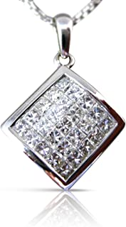 1.0CT DIAMOND 14KT WHITE GOLD 3D INVISIBLE SQUARE FLOATING PENDANT #17673