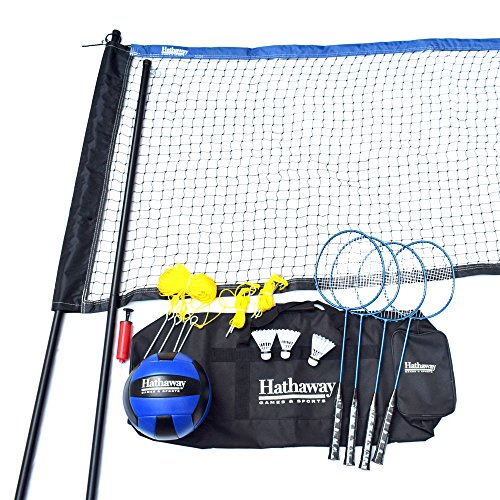 Hathaway Volleyball/Badminton Complete Combo Set White