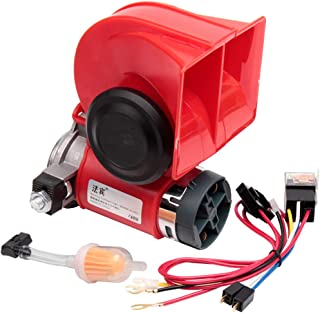 FARBIN Car Horn 24V 130db Super Loud Air Horn with Compressor Nautilus Compact Wiring Harness for Any 24V Vehicles (24V, red)