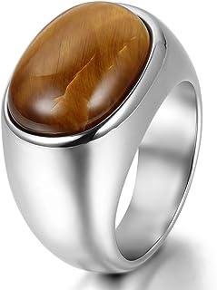 Jewelrywe Gioielli Anello da Uomo, Anelli, Classico Ovale, Tiger Eye Acciaio Inossidabile, Argento (con Borsa Regalo)