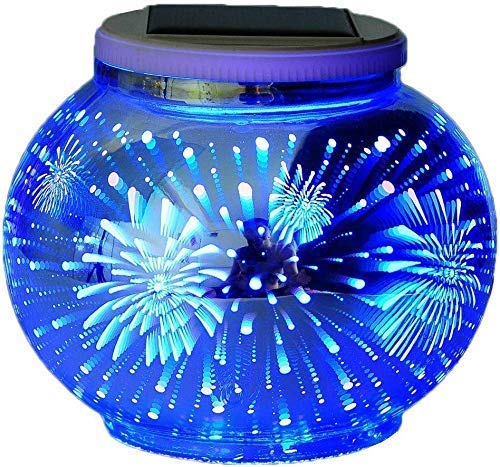DHTOMC - Lámpara de mesa solar para exteriores, mosaico solar, luces de mosaico que cambian de color, impermeable, funciona con energía solar, lámpara de mesa de cristal para fiestas y jardín Xping
