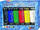 Kreul 28260 - El Greco Acrylfarben, 6 x 75 ml, glänzende, hochpigmentierte Acrylfarbe in Studienqualität, buttrig vermalbar, für pastose Malerei