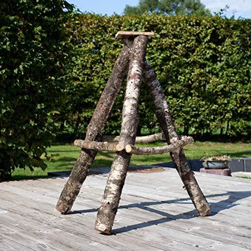 VOSS.garden Schwerer Vogelhausständer aus Naturbelassener Birke, 115cm groß, XL Reetdach Vogelhäuser, Vogelhaus Aufsteller für Vogelhäuser