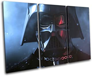 Bold Bloc Design - Star Wars Darth Vader Movie Greats 120x80cm TREBLE Canvas Art Print Box Framed Picture Wall Hanging - Hand Made In The UK - Framed And Ready To Hang