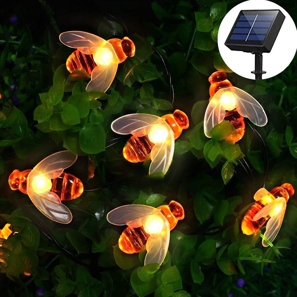 50 LED] Luces solares de jardín, cadena de luces de hada de abeja de miel, 7 m, 8 modos, impermeable, iluminación de jardín interior/exterior para valla de flores, césped (blanco cálido): Amazon.es: