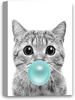 Funny Ugly Christmas Sweater Little Cat Chewing Bubble Gum Canvas Wall Art Lovely Cat Poster Photo Artwork Blue Gum Animal Gifts Cat Lovers Gifts 8