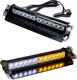 SMALLFATW 12 LED 7 Flash Patterns High Intensity Emergency Law Enforcement Vehicles Truck Warning Strobe Visor Light Mini Bar Fit for Interior Roof/Dash/Windshield with Suction Cups (Amber/White)