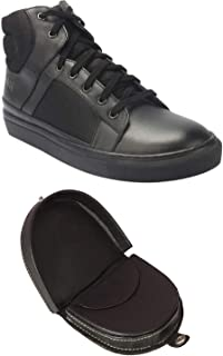 Aditi Wasan Genuine Leather Balck Men Sneakers and Black Coin Holder Combo Pack