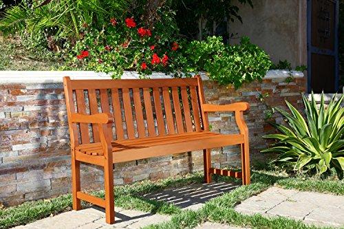 Vifah V206E Marley Baltic Eucalyptus Wooden Bench for 2 Seater in Entry Way, Porch, Balcony, Deck, Garden, Patio, Backyard, Outdoor Seating, 450 lbs Capacity, 4Ft, Red Brown