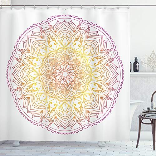 ABAKUHAUS Mandala del Arco Iris Cortina de Baño, Flor del Este, Material Resistente al Agua Durable Estampa Digital, 175 x 200 cm, Violeta Naranja y Amarillo