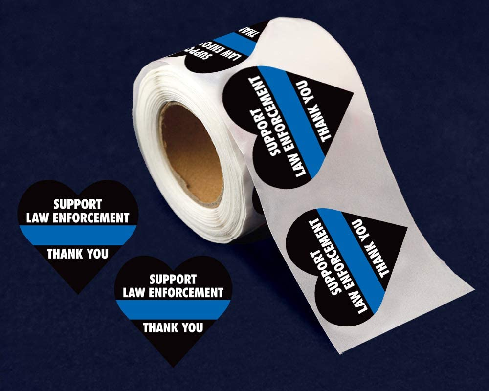 Support Law Enforcement Heart Stickers for Car Bumpers Fundraising For A Cause 250 Stickers Cell Phones and More Office Doors Blue Line Heart Stickers