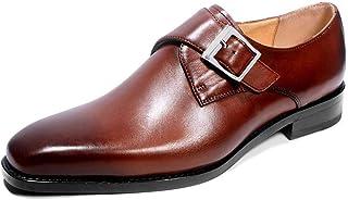 Scarpe settore della pelle,Scarpe Uomo Hasp Abito da sposa Scarpe classiche Monk,Brown- 46/UK 11.5/US 12