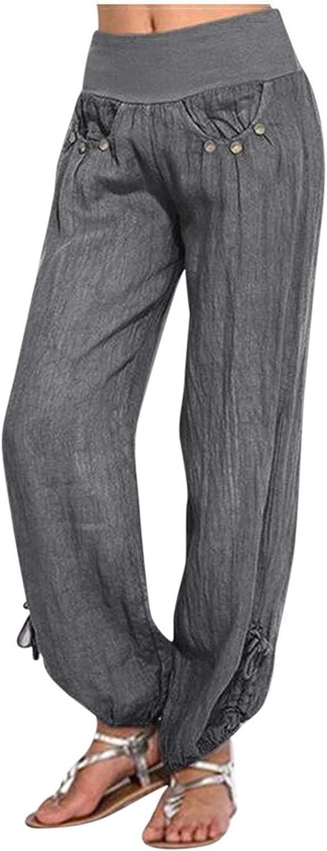 TOPYY Loose Fit Pants for Women's Buttons Cotton Linen Pants Casual Drawstring Wide Leg Elastic Waist Beach Fashion Trousers