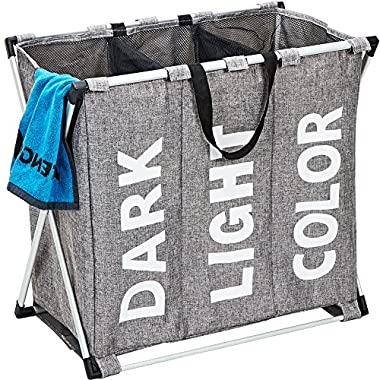 HOMEST 3 Sections Laundry Hamper Basket with Aluminum Frame 25.5''×22.5''H Durable Dirty Clothes Bag for Bathroom Bedroom Home, Grey (Upgraded)