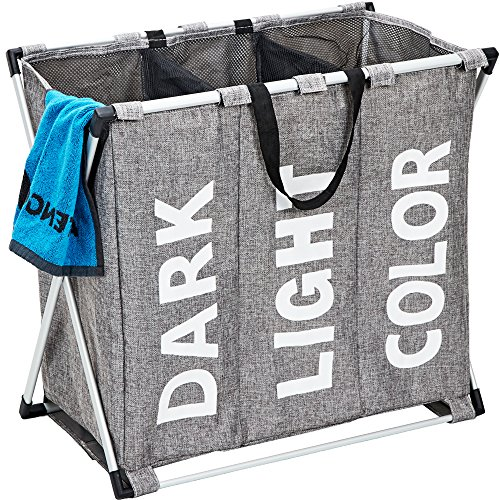 HOMEST 3 Sections Laundry Hamper Basket with Aluminum Frame 25.5''L×22.5''H Durable Dirty Clothes Bag for Bathroom Bedroom Home, Grey