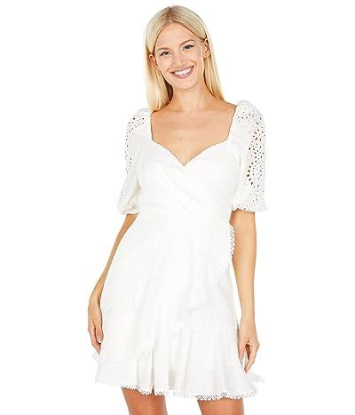 BCBGMAXAZRIA Embroidered Faux Wrap Dress