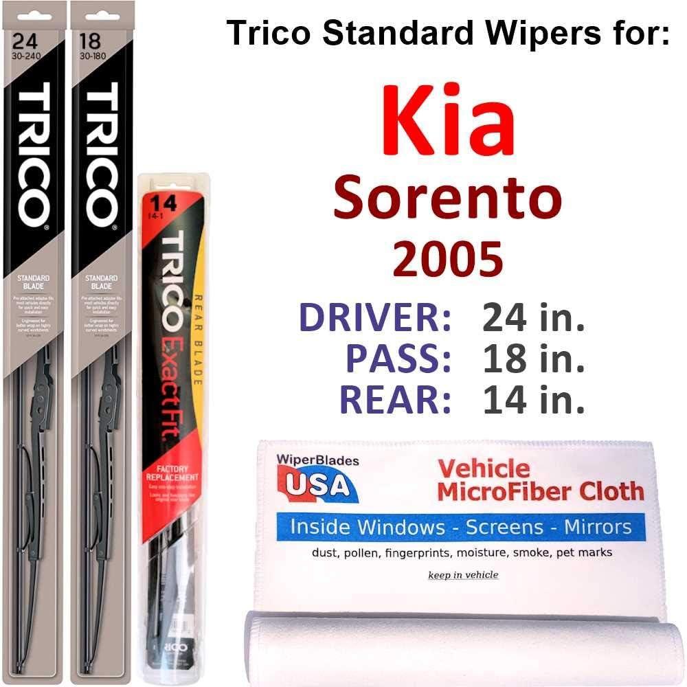 Wipers for 2005 Kia Sorento Set Trico Very popular Steel Cash special price of Rear w