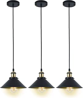 Deep Dream Industrial Pendant Light Shade Vintage Light Fixtures Pendant E26 E27 Base 3 Pack (Without Bulbs)