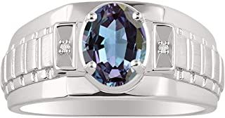 RYLOS Classic Designer Style Oval Shape Gemstone & Genuine Sparkling Diamonds in Sterling Silver .925-8X6MM Color Stone