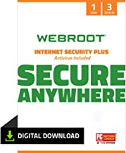 Webroot Internet Security Plus with Antivirus Protection Software  | 3 Device | 1 Year Subscription | PC Download