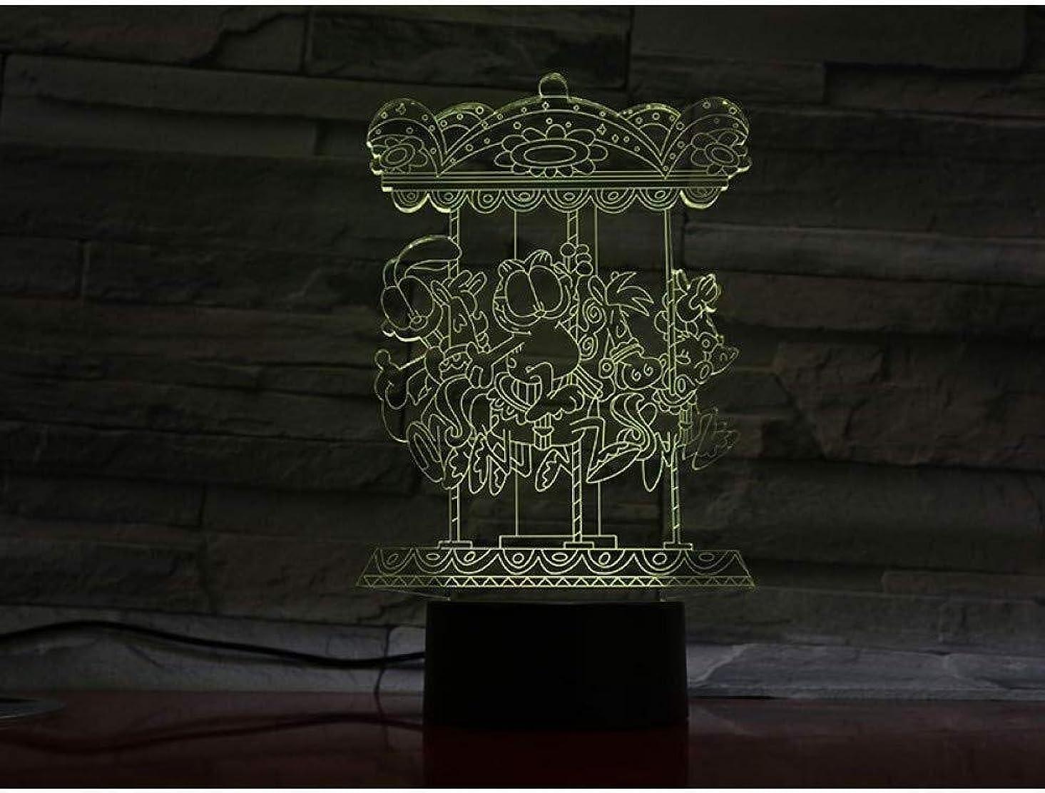 言語アスレチック塗抹3DイリュージョンアミューズメントパークLEDランプタッチセンサー7色のランプベッドルームベッドサイドアクリル装飾的なデスクランプキッズフェスティバル誕生日プレゼントのUSB充電