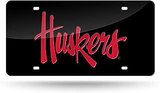 FanNut.com Nebraska Cornhuskers Custom Black Script Deluxe Laser License Plate Tag University of