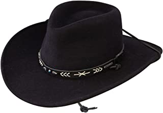 5362df7ae9996 Stetson Mens Santa Fe Chin Strap Wool Felt Crushable Water Repellent Black  Outdoor Collection Cowboy Hat