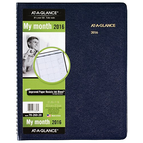 AT-A-GLANCE Monthly Planner 2016, 15 Months, 9 x 11 Inch Page Size, Navy (7026020)