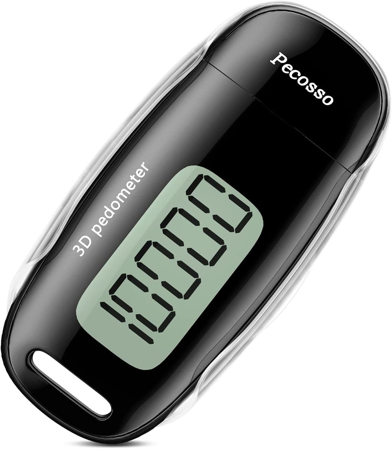 Pecosso USB Charge Step Counter Walking 3D Pedometer withLarge Luminous LCDScreen,ClipandLanyard for WholeFamily (Black) : Sports & Outdoors