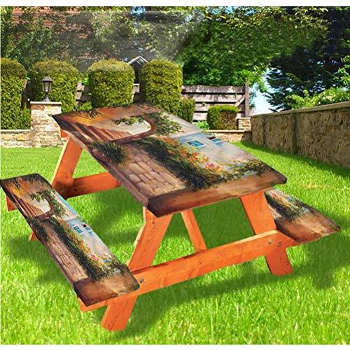Mantel de mesa y banco de picnic rústico, mantel de piedra, puerta de entrada de casa con borde elástico, 28 x 172 pulgadas, juego de 3 piezas para camping, comedor, exterior, parque, patio