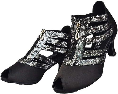 Fuxitoggo zapatos de Baile Latino para mujer, zapatos de Baile Social con Estampado de Sandalias Suaves, zapatos de Baile de salón (Color   negro, tamaño   Foot Length=22.8CM9Inch)