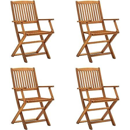 vidaXL 4x Solid Acacia Wood Folding Outdoor Chairs Furniture Garden Picnic Camping Backyard Yard Foldable Portable Dining Dinner BBQ Seat
