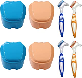 Boîte Dentier,Xiuyer 2pcs Professionnelles Boîtes Prothèses Tasse Dentier Boîte Bain Boîtes Rangement Fausses Dents + 2pcs...