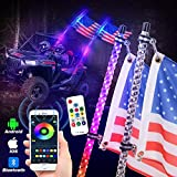 Lusgwufad Upgrade 2pcs 5ft Spiral RGB LED Whip Lights for UTV ATV LED Lighted Antenna Whips Compatible with UTV ATV Polaris Off Road RZR Sand Buggy Dune Truck Can-am Boat (One Synchronous Controller)