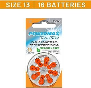 Powermax Size 13 Hearing Aid Batteries, Orange Tab, Zinc Air Mercury-Free, HearRite, 16 Count
