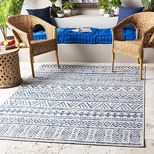Surya Eagean - Alfombra Moderna para Interiores y Exteriores, 130 x 180 cm, Color Azul Marino y Blanco