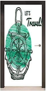 Printed Door Sticker Home Art Deco Sticker Removable Self-Adhesive Wall Decal. Anchor Lets Travel Theme with Aquatic Icons Navy ope Helm Water V sel Oceanic Art Turquoise Black White Door Sticker.