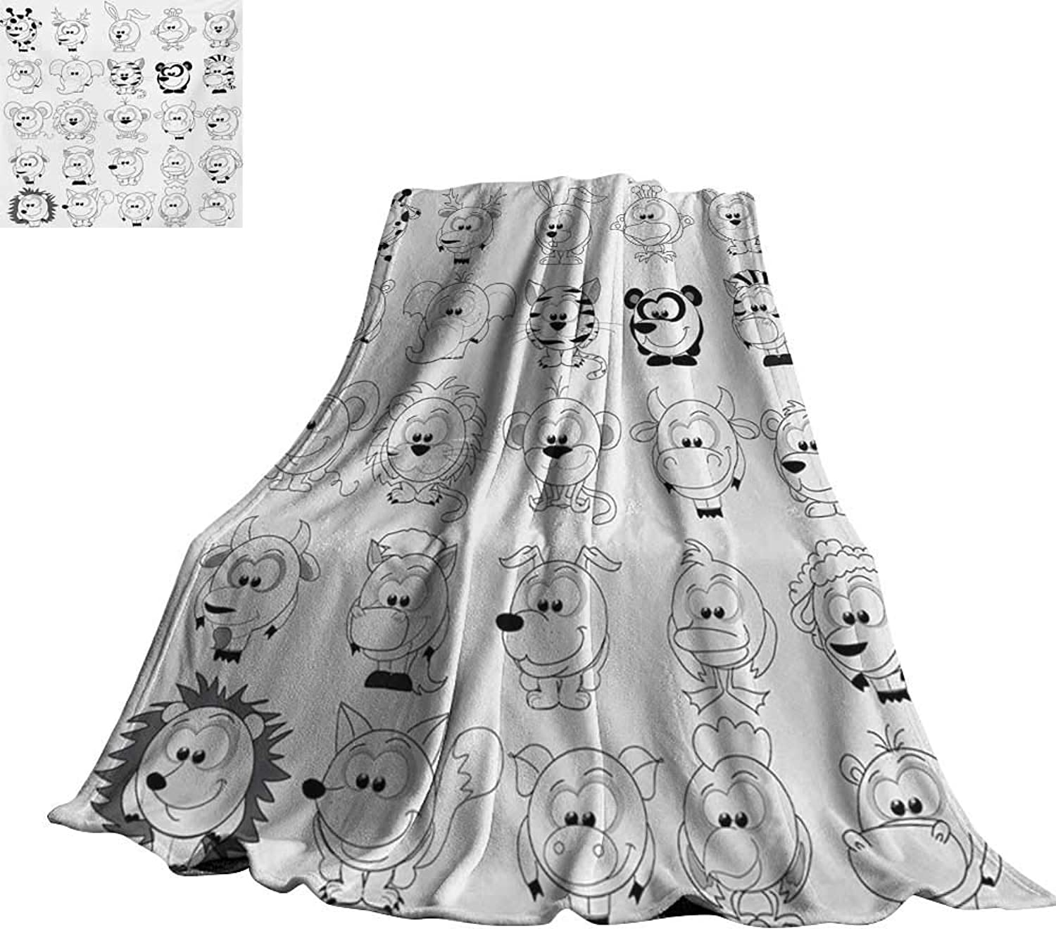 RenteriaDecor Doodle,Personalized Blankets Assortment of Cartoon Style Animals Cat Zebra Girraffe Pig Panda Monkey Animal Fun Blanket for Bed Couch 70 x50