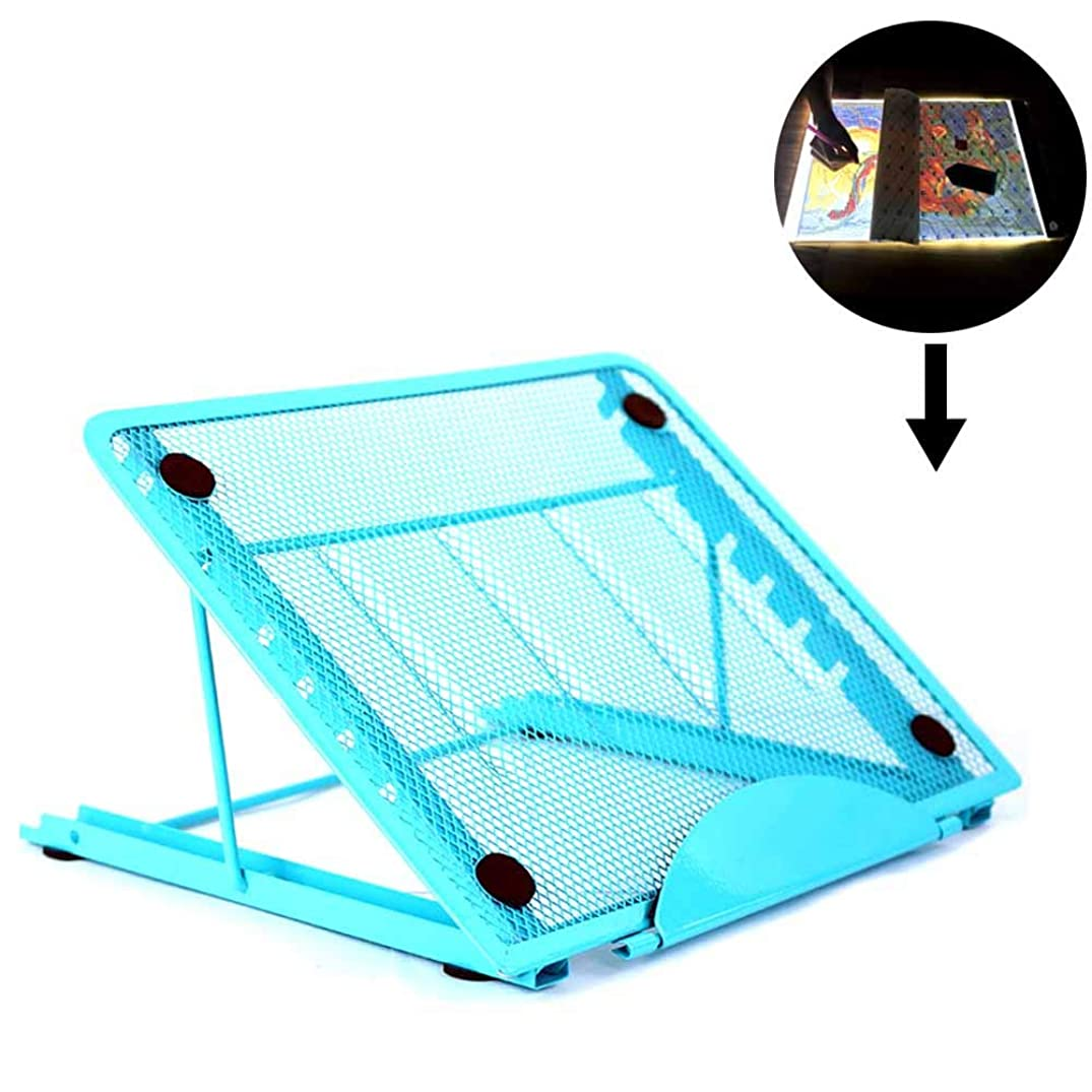 Stand for Light Pad of Diamond Painting, Particular Design for A4 Led Light Pad Box Tablet Board, Stainless Steel Multi-Angle Adjustment Relieve Stiff Neck Pain(Blue)
