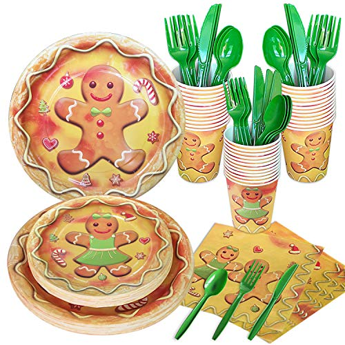 HIPEEWO Christmas Paper Plates and Napkins - Christmas Dinnerware Set for Festive Holiday Xmas Party, Boy and Girl Gingerbread Cookie Design, Includes Plates, Napkins, Cups, Cutlery, Serves 24
