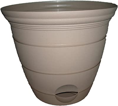 Misco Terra Collection Round Tapered Flared Self-Watering Terra Planter with Ventilated Base, 6-Inch Diameter, Sandalwood