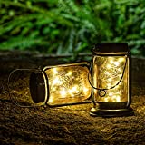 HUAXU Hanging Solar Mason Jar Lights,20 Led String Fairy lights Solar Lanterns Table Lamp.2 Pack Solar Powered Waterproof Landscape Lanterns with Retro Design for Patio, Yard, Garden and Pathway Décor