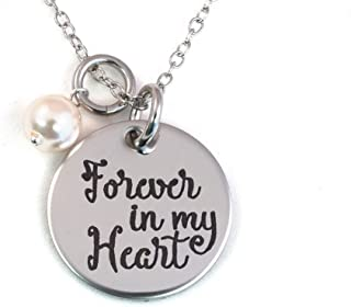 Forever in My Heart Stainless Steel Memorial Necklace with Crystal Pearl