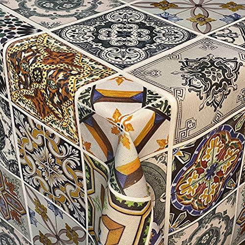KEVKUS Tovaglia Jacquard in cotone rivestito DG001 Mosaico Colorato Piastrelle Quadrate Rotondo Ovale (Bordo: Bordo in Cotone, 140 x 160 cm)