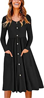 OUGES Women's Long Sleeve V Neck Button Down Midi Skater Dress with Pockets(Black,XL)