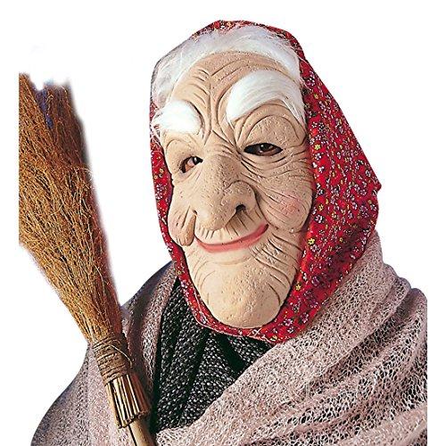 Hexenmaske Oma Maske mit Haaren und Kopftuch Hexen Omamaske Karneval Alte Frau Halloweenmaske Hexe Faschingsmaske Hexengesicht Karnevalsmaske