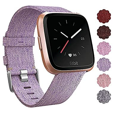 QIBOX Fitbit Versa Bands, Woven Fabric Wrist Strap Quick Release Watch Band with Classic Square Stainless Steel Buckle for Fitbit Versa Fitness Smart Watch(Lavender)